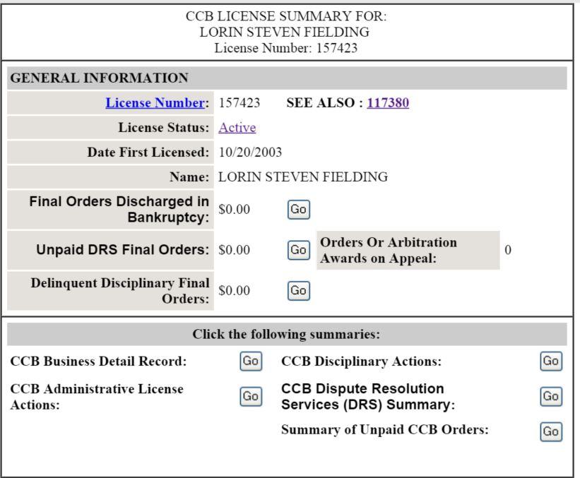 Oregon CCB Contractor Details