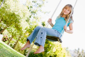 A tree swing is safe when it's properly hung.